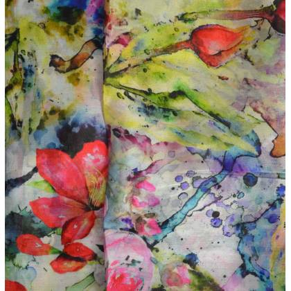 Etole en soie rose fleurs fondues