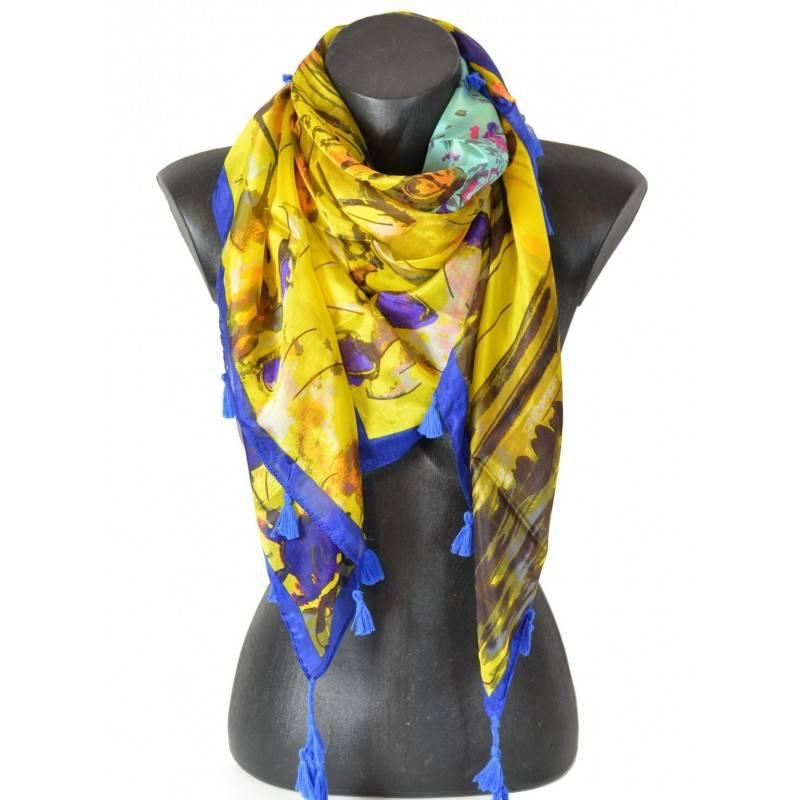 Cheche en soie bleu et jaune
