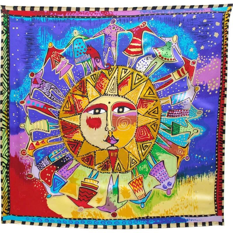 Grand carré en soie 140 cm ronde soleil