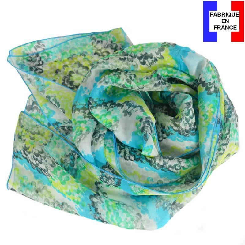 Echarpe en soie Coquillage bleu made in France
