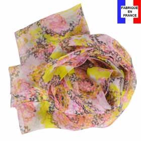 Echarpe en soie Coquillage jaune made in France