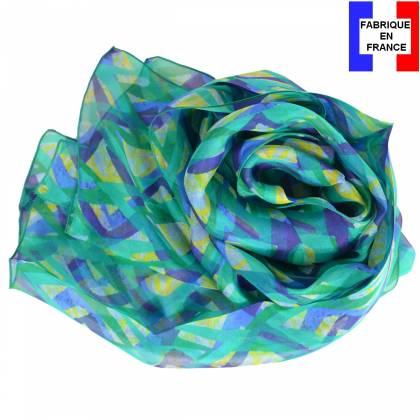 Echarpe en soie Losange verte made in France