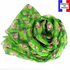 Echarpe soie Losange vert pomme made in France