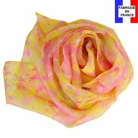 Echarpe soie Givre jaune made in France
