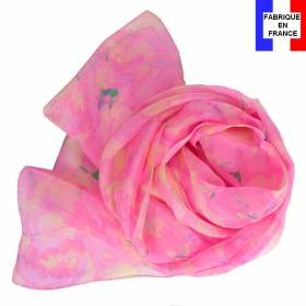 Echarpe soie Givre rose made in France