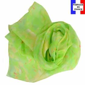 Echarpe soie Givre verte made in France