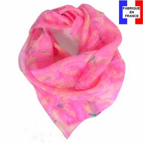 Carré soie Givre rose made in France