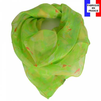 Carré soie Givre vert made in France