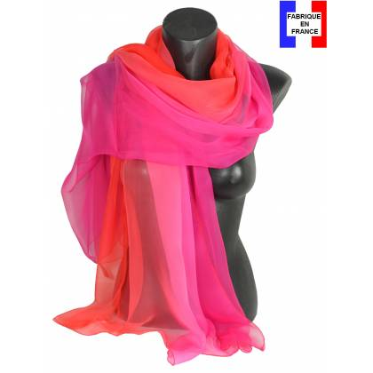 Etole soie bicolore rose et rouge made in France