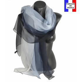 Etole soie bicolore noire et blanche made in France