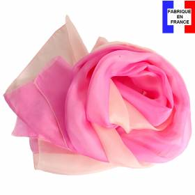 Foulard en soie bi-bandes, rose made in France