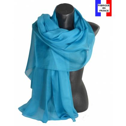 Etole soie cérémonie turquoise made in France