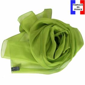 Echarpe en soie vert unie made in France