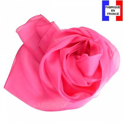 Echarpe en soie rose unie made in France