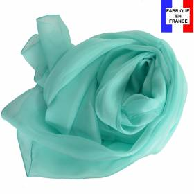Echarpe en soie aqua unie made in France