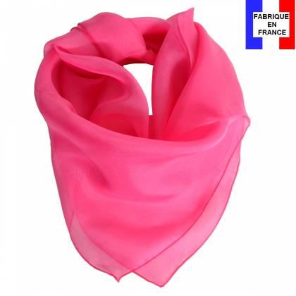 Carré en soie 70cm rose bonbon made in France