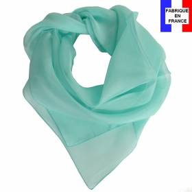 Carré en soie 70cm aqua made in France