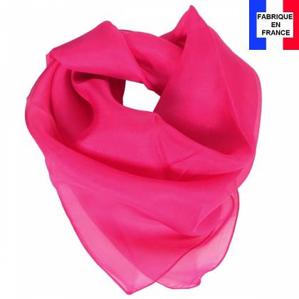 Carré en soie 70cm rose fuchsia made in France