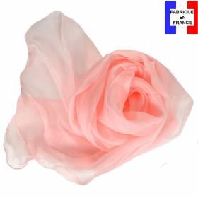 Echarpe ondulée soie rose clair made in France