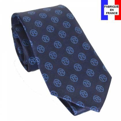 Cravate soie Monogramme bleu Toulouse Lautrec