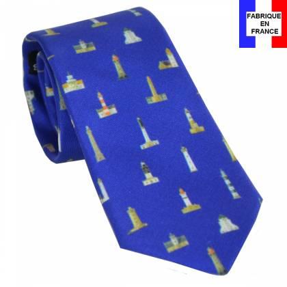 Cravate soie Les phares Bretons de Héron