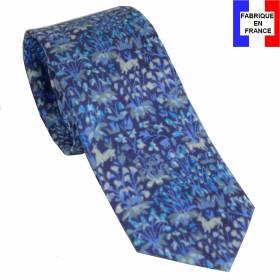 Cravate en soie Mille Fleurs bleue