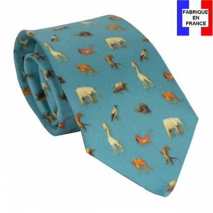 Cravate en soie Bosch - Le jardin des délices bleu
