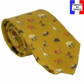 Cravate en soie Bosch - Le jardin des délices ocre