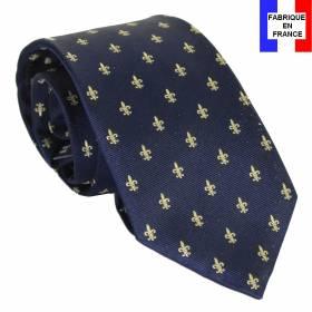 Cravate soie Fleurs de Lys bleu