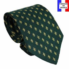 Cravate soie Fleurs de Lys vert