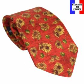 Cravate en soie Van Gogh - Tournesols rouge