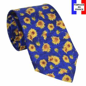 Cravate en soie Van Gogh - Tournesols bleue