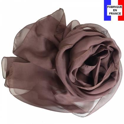 Foulard en soie marron uni made in France