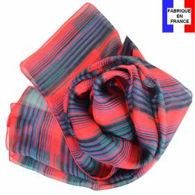 Foulard en soie Rayure rouge made in France