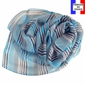 Foulard en soie Rayure bleu made in France