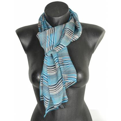 Foulard en soie Rayure bleu made in France