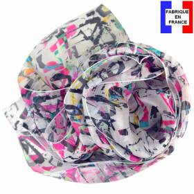 Foulard en soie Graff blanc made in France