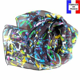 Foulard en soie Graff noir made in France