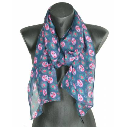 Foulard en soie Scandinave vert made in France