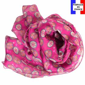 Foulard en soie Scandinave rose made in France