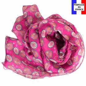 Foulard en soie Scandinave rose made in France