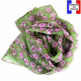 Foulard en soie Scandinave vert pomme made in France
