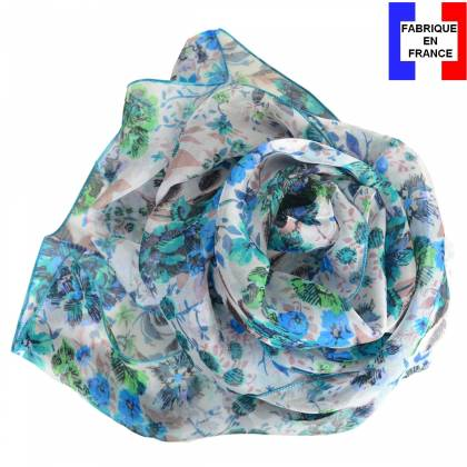 Foulard en soie Romantique bleu made in France