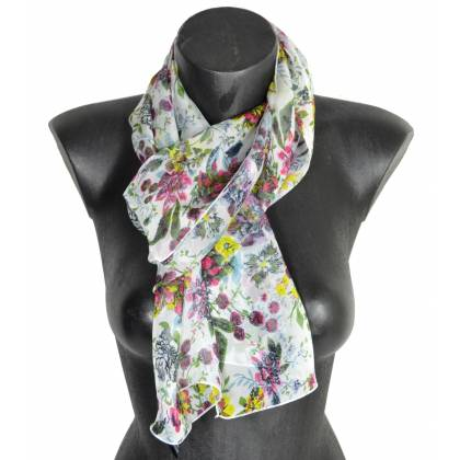 Foulard en soie Romantique rose made in France