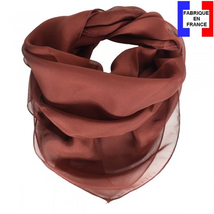 Carré en soie 65cm acajou made in France
