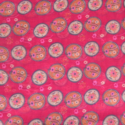 Carré soie Scandinave rose made in France