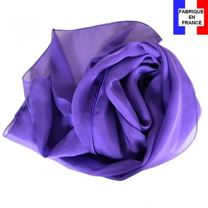 Foulard en soie violet uni made in France
