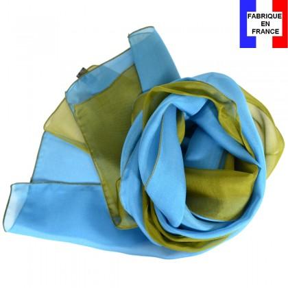 Foulard en soie bi-bandes bleu-vert made in France