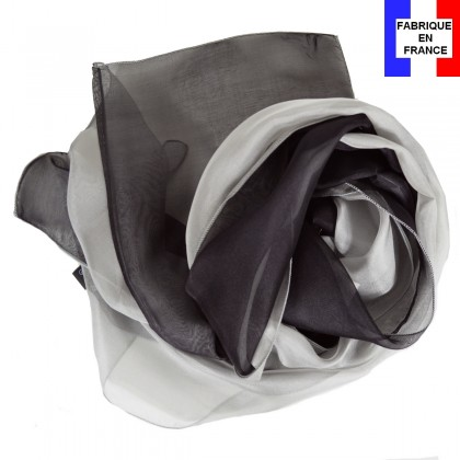 Foulard en soie bi-bandes gris-noir made in France