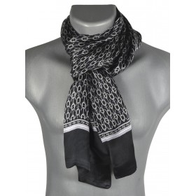 Foulard en soie homme encre noir-gris